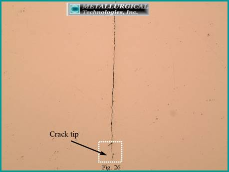 the straight crack path was again characteristic of fatigue.
