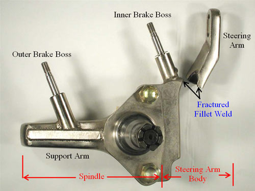 An overall view of the left front spindle/steering arm assembly. The steering arm has fractured from the rest of the steering arm body along the fillet weld joint between the steering arm and the inner brake boss.