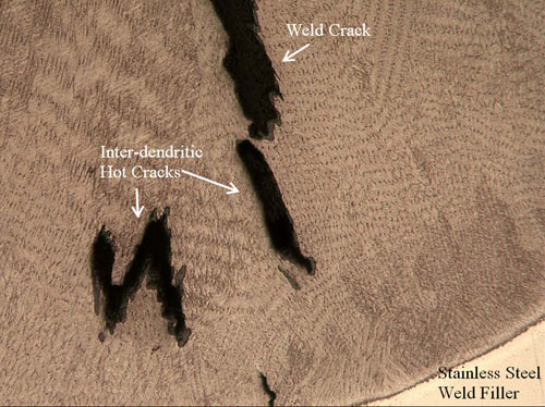 An optical photomicrograph of inter-dendritic hot cracks lined with oxidation. The presence of oxidation lined inter-dendritic cracks is indicative of hot solidification/crater cracking.
